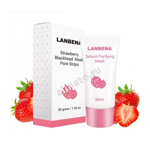 Купить LANBENA Strawberry Blackhead Mask Pore Strips маска от черных точек на лице 30 гр
